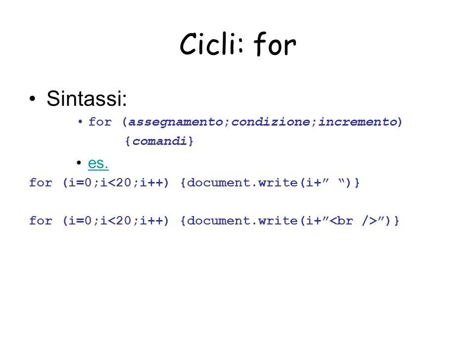 Cicli: for Sintassi: for (assegnamento;condizione;incremento) {comandi} es.