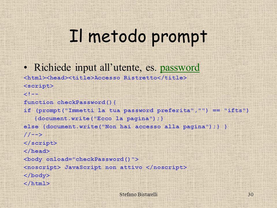 Stefano Bistarelli29 Quiz riassuntivi II –Cosa bisogna scrivere per chiudere uno script.