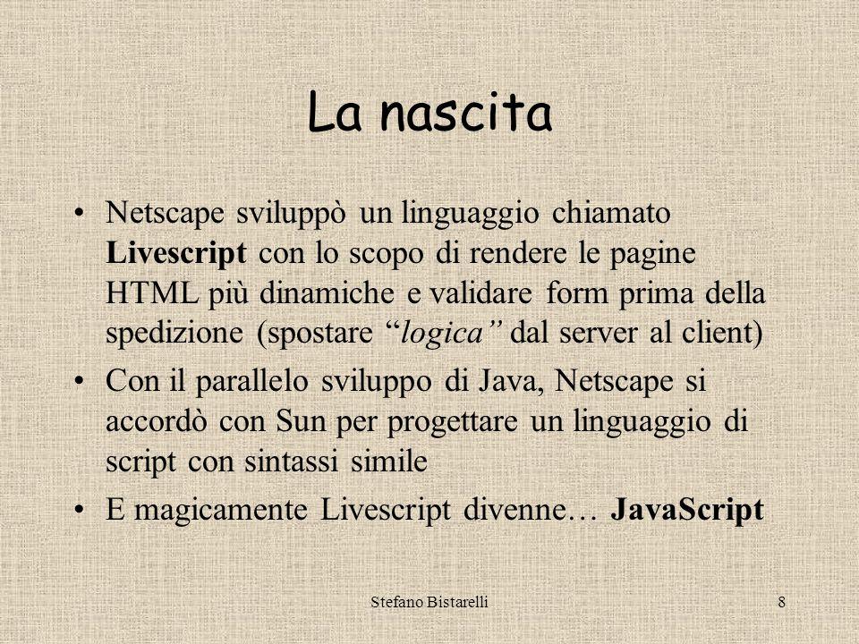 Stefano Bistarelli28 Quiz riassuntivi I –Perché Javascript e Java hanno nomi simili.