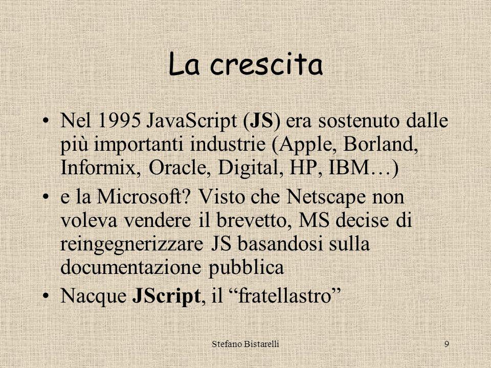 Stefano Bistarelli9 La crescita Nel 1995 JavaScript (JS) era sostenuto dalle più importanti industrie (Apple, Borland, Informix, Oracle, Digital, HP, IBM…) e la Microsoft.