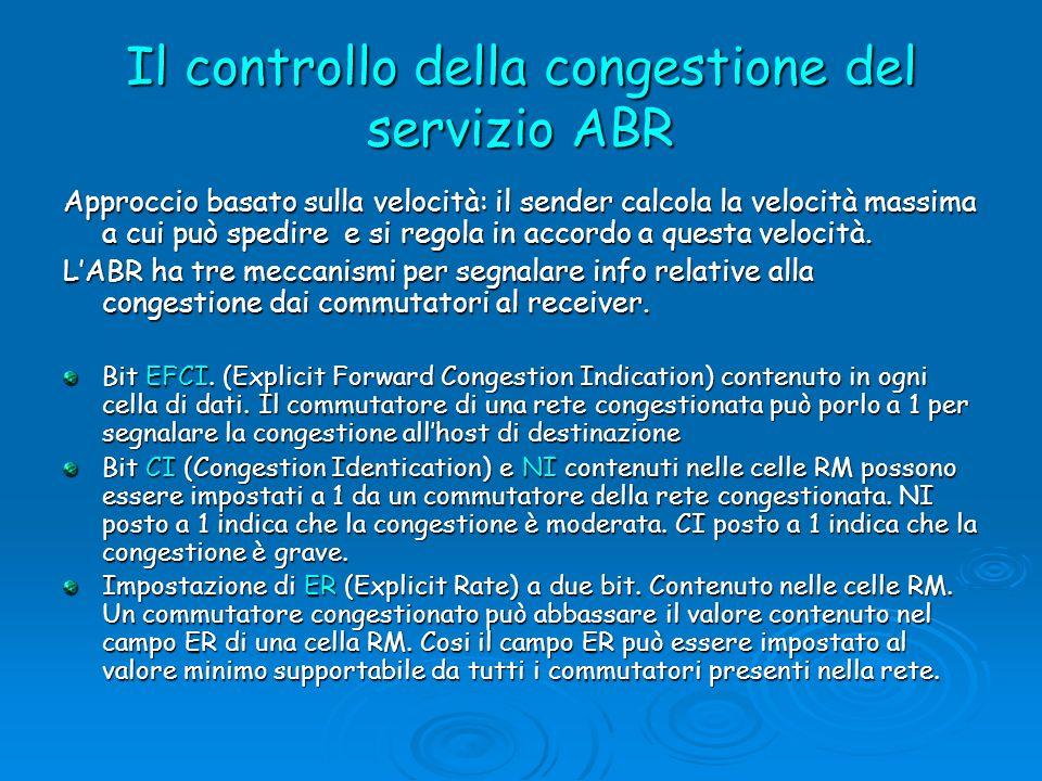 Il controllo della congestione del servizio ABR Approccio basato sulla velocità: il sender calcola la velocità massima a cui può spedire e si regola i