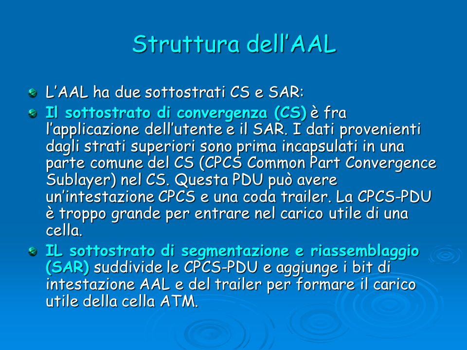 Struttura dellAAL LAAL ha due sottostrati CS e SAR: Il sottostrato di convergenza (CS) è fra lapplicazione dellutente e il SAR. I dati provenienti dag