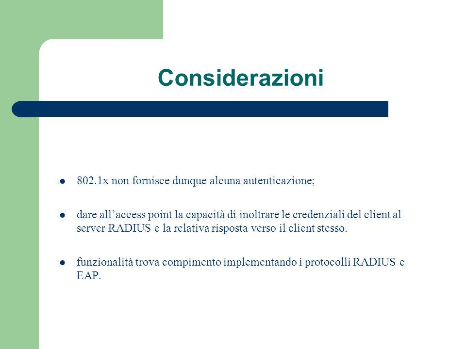 Considerazioni 802.1x non fornisce dunque alcuna autenticazione; dare allaccess point la capacità di inoltrare le credenziali del client al server RAD