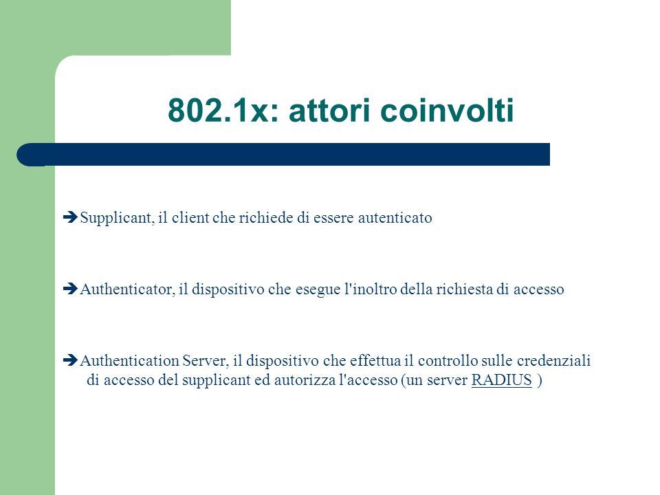 802.1x: attori coinvolti Supplicant, il client che richiede di essere autenticato Authenticator, il dispositivo che esegue l'inoltro della richiesta d