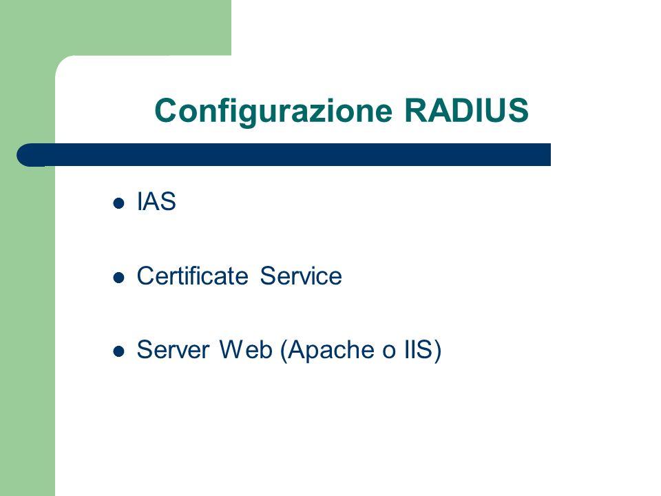 Configurazione RADIUS IAS Certificate Service Server Web (Apache o IIS)