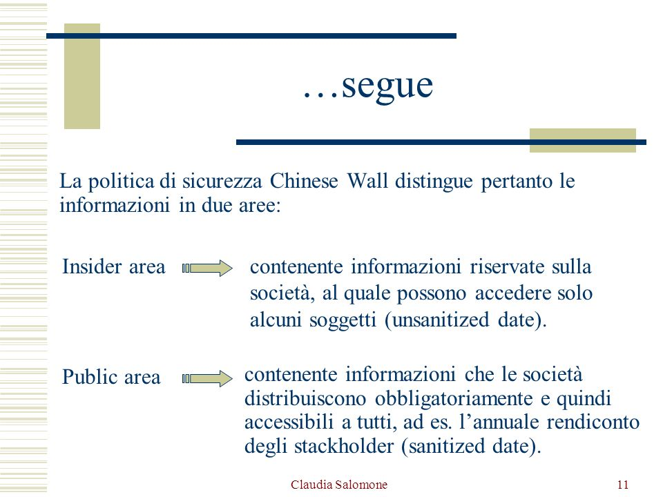 Claudia Salomone11 …segue La politica di sicurezza Chinese Wall distingue pertanto le informazioni in due aree: Insider areacontenente informazioni ri