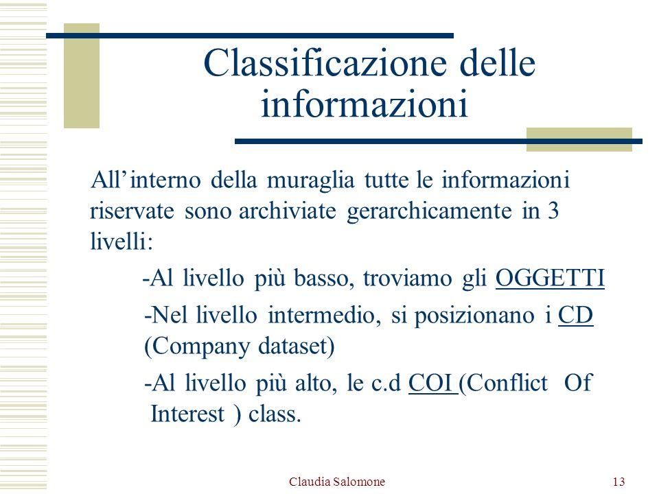 Claudia Salomone13 Classificazione delle informazioni Allinterno della muraglia tutte le informazioni riservate sono archiviate gerarchicamente in 3 l