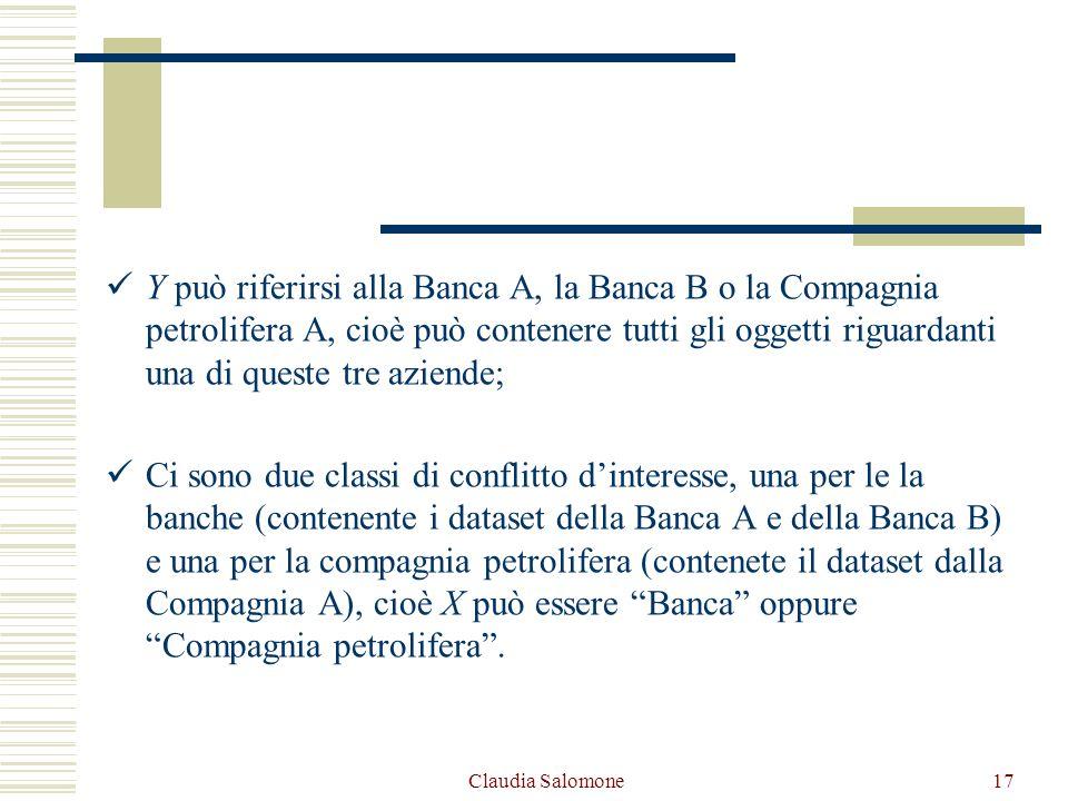 Claudia Salomone17 Y può riferirsi alla Banca A, la Banca B o la Compagnia petrolifera A, cioè può contenere tutti gli oggetti riguardanti una di ques