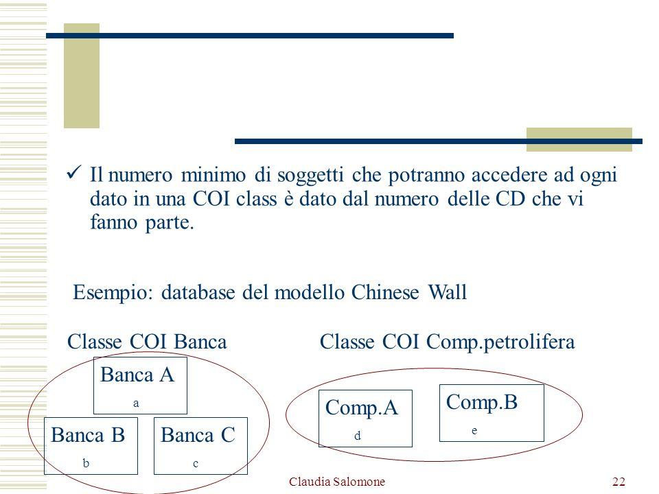 Claudia Salomone22 Il numero minimo di soggetti che potranno accedere ad ogni dato in una COI class è dato dal numero delle CD che vi fanno parte. Ese