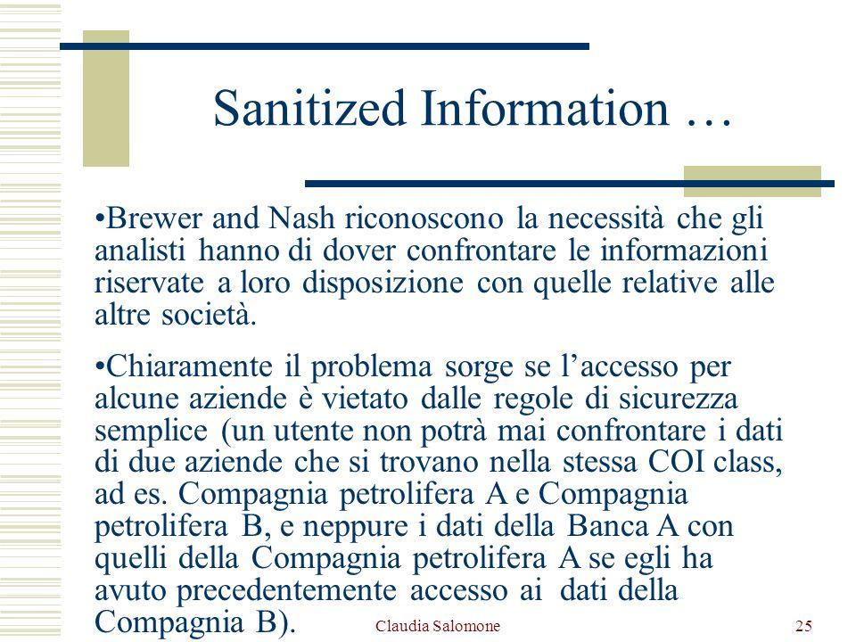 Claudia Salomone25 Sanitized Information … Brewer and Nash riconoscono la necessità che gli analisti hanno di dover confrontare le informazioni riserv