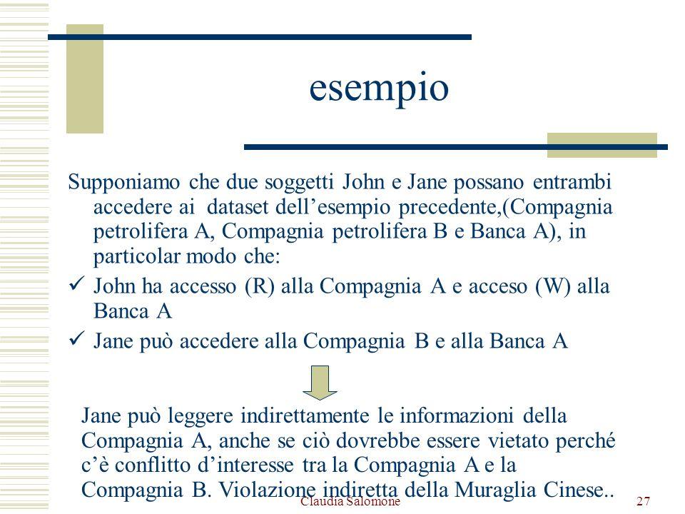 Claudia Salomone27 esempio Supponiamo che due soggetti John e Jane possano entrambi accedere ai dataset dellesempio precedente,(Compagnia petrolifera