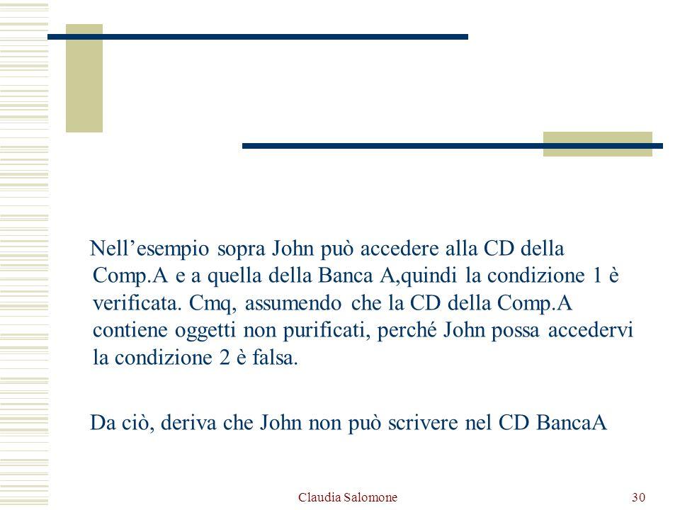 Claudia Salomone30 Nellesempio sopra John può accedere alla CD della Comp.A e a quella della Banca A,quindi la condizione 1 è verificata. Cmq, assumen