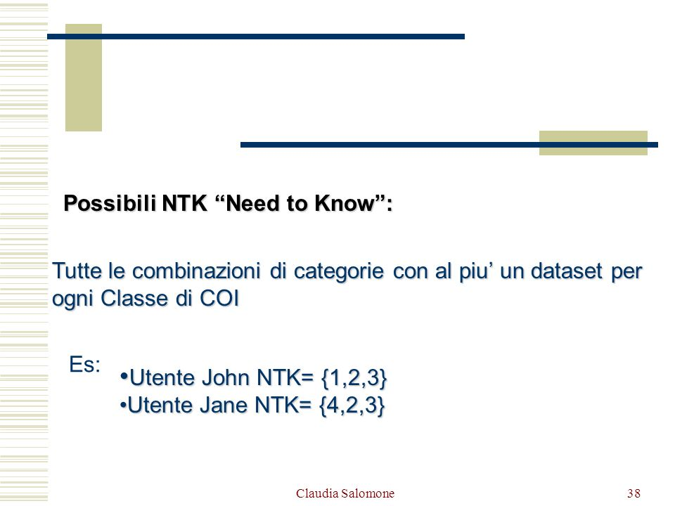 Claudia Salomone38 Tutte le combinazioni di categorie con al piu un dataset per ogni Classe di COI Es: Utente John NTK= {1,2,3} Utente John NTK= {1,2,
