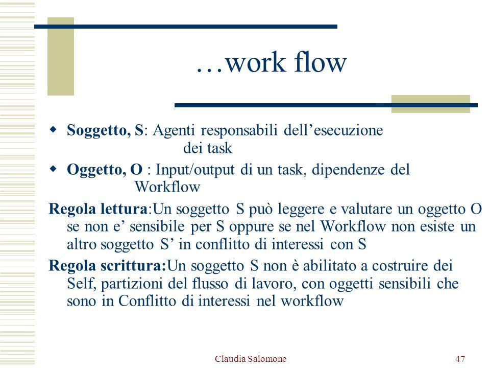 Claudia Salomone47 …work flow Soggetto, S: Agenti responsabili dellesecuzione dei task Oggetto, O : Input/output di un task, dipendenze del Workflow R