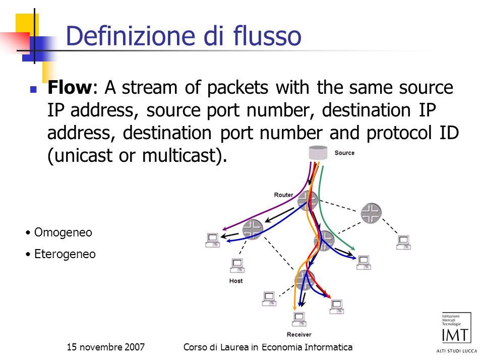 15 novembre 2007Corso di Laurea in Economia Informatica Definizione di flusso Flow: A stream of packets with the same source IP address, source port n