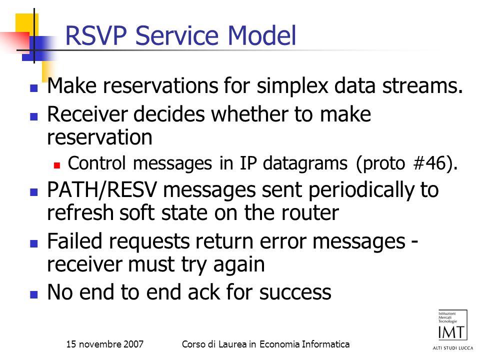 15 novembre 2007Corso di Laurea in Economia Informatica RSVP Service Model Make reservations for simplex data streams. Receiver decides whether to mak