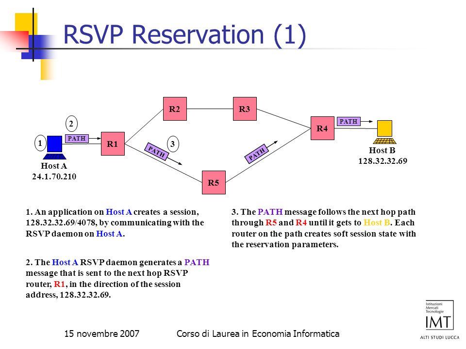 15 novembre 2007Corso di Laurea in Economia Informatica RSVP Reservation (1) R4 R5 R3R2 R1 Host A 24.1.70.210 Host B 128.32.32.69 PATH 2 2. The Host A