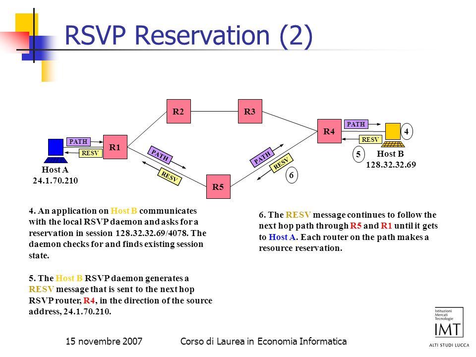 15 novembre 2007Corso di Laurea in Economia Informatica RSVP Reservation (2) R4 R5 R3R2 R1 Host A 24.1.70.210 Host B 128.32.32.69 PATH RESV 5 5. The H