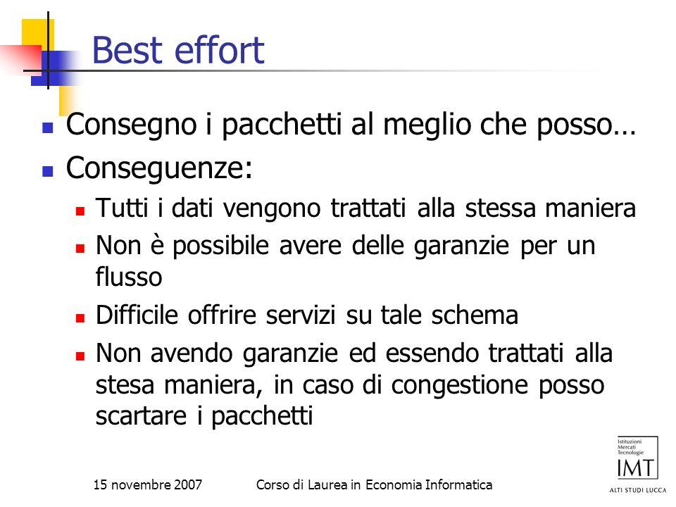 15 novembre 2007Corso di Laurea in Economia Informatica Best effort Consegno i pacchetti al meglio che posso… Conseguenze: Tutti i dati vengono tratta