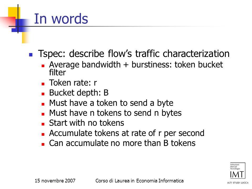 15 novembre 2007Corso di Laurea in Economia Informatica In words Tspec: describe flows traffic characterization Average bandwidth + burstiness: token