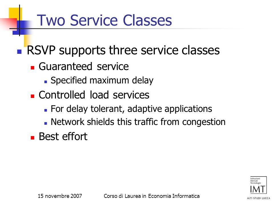 15 novembre 2007Corso di Laurea in Economia Informatica Two Service Classes RSVP supports three service classes Guaranteed service Specified maximum d