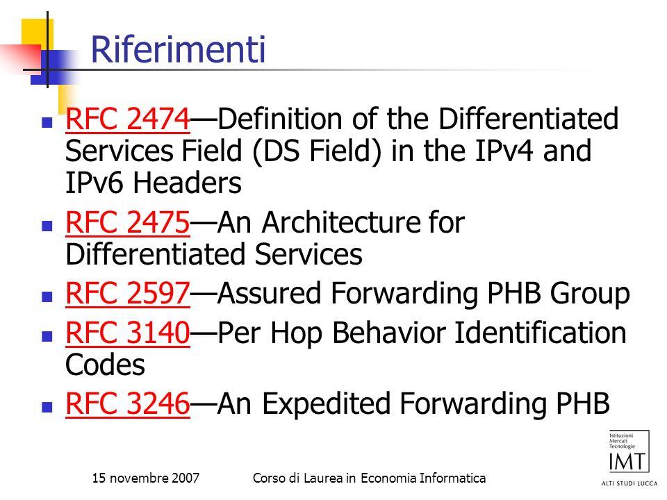 15 novembre 2007Corso di Laurea in Economia Informatica Riferimenti RFC 2474Definition of the Differentiated Services Field (DS Field) in the IPv4 and