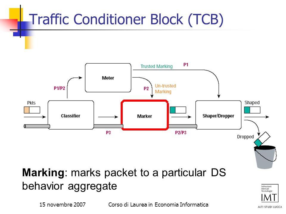 15 novembre 2007Corso di Laurea in Economia Informatica Traffic Conditioner Block (TCB) Marking: marks packet to a particular DS behavior aggregate
