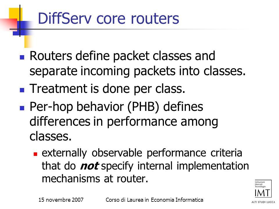 15 novembre 2007Corso di Laurea in Economia Informatica DiffServ core routers Routers define packet classes and separate incoming packets into classes