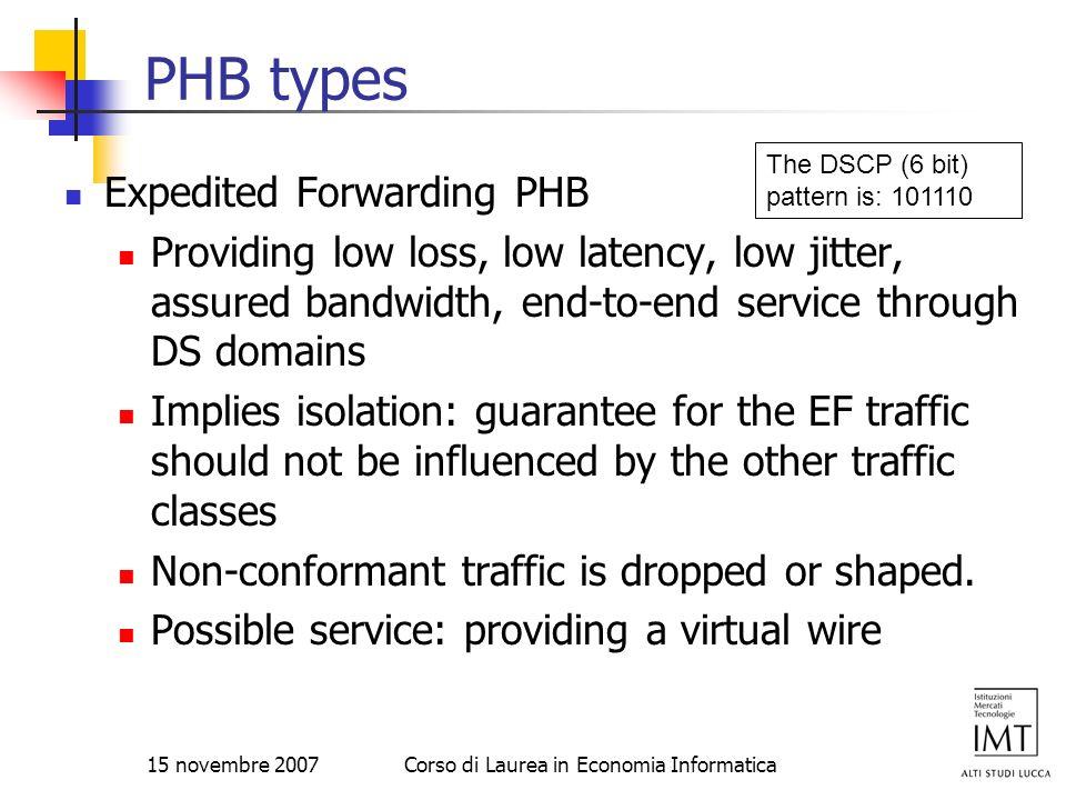 15 novembre 2007Corso di Laurea in Economia Informatica PHB types Expedited Forwarding PHB Providing low loss, low latency, low jitter, assured bandwi