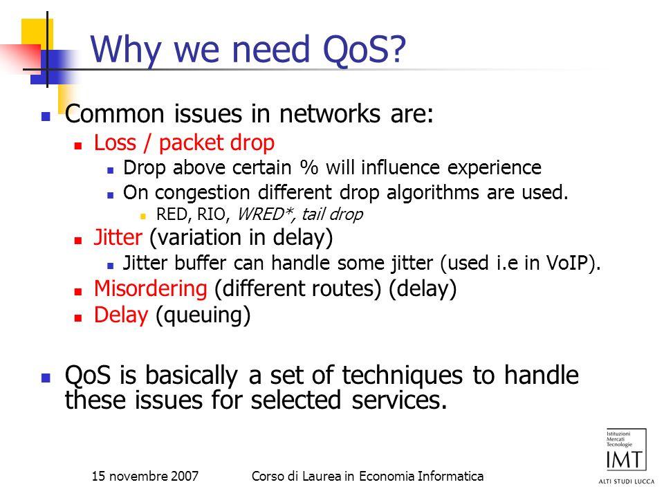 15 novembre 2007Corso di Laurea in Economia Informatica Why we need QoS? Common issues in networks are: Loss / packet drop Drop above certain % will i