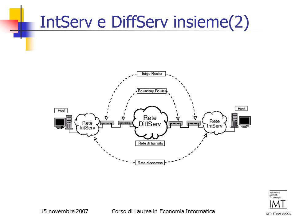 15 novembre 2007Corso di Laurea in Economia Informatica IntServ e DiffServ insieme(2)