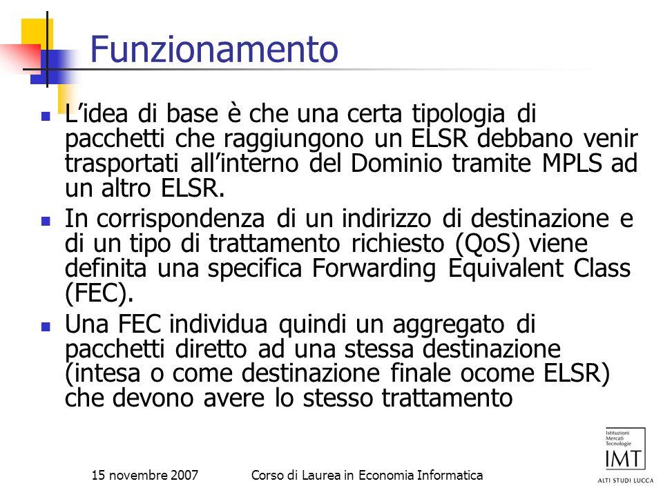 15 novembre 2007Corso di Laurea in Economia Informatica Funzionamento Lidea di base è che una certa tipologia di pacchetti che raggiungono un ELSR deb
