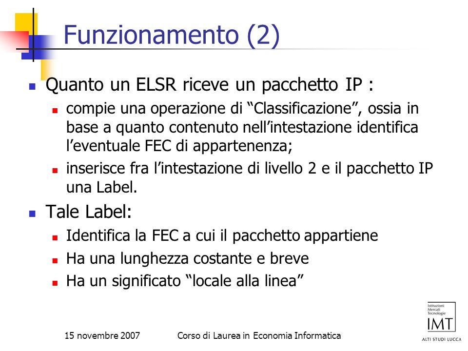 15 novembre 2007Corso di Laurea in Economia Informatica Funzionamento (2) Quanto un ELSR riceve un pacchetto IP : compie una operazione di Classificaz