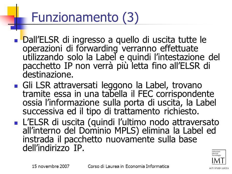 15 novembre 2007Corso di Laurea in Economia Informatica Funzionamento (3) DallELSR di ingresso a quello di uscita tutte le operazioni di forwarding ve