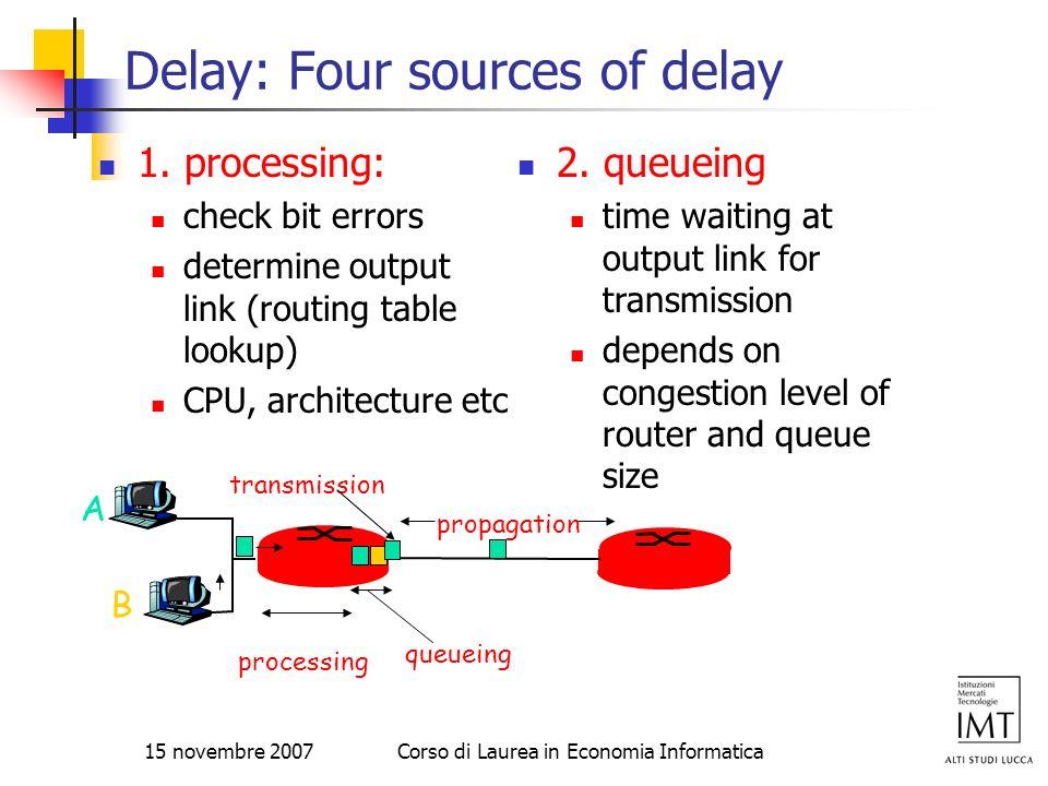 15 novembre 2007Corso di Laurea in Economia Informatica Delay: Four sources of delay 1. processing: check bit errors determine output link (routing ta