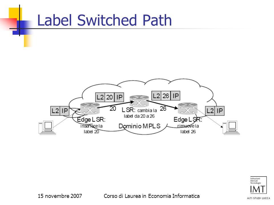 15 novembre 2007Corso di Laurea in Economia Informatica Label Switched Path