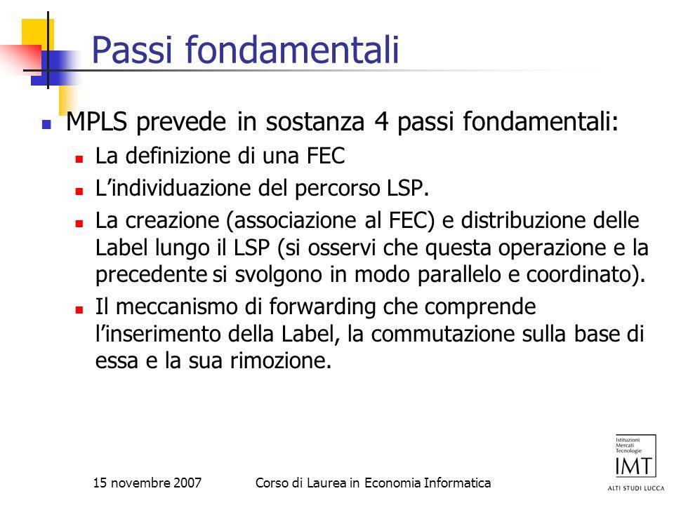 15 novembre 2007Corso di Laurea in Economia Informatica Passi fondamentali MPLS prevede in sostanza 4 passi fondamentali: La definizione di una FEC Li