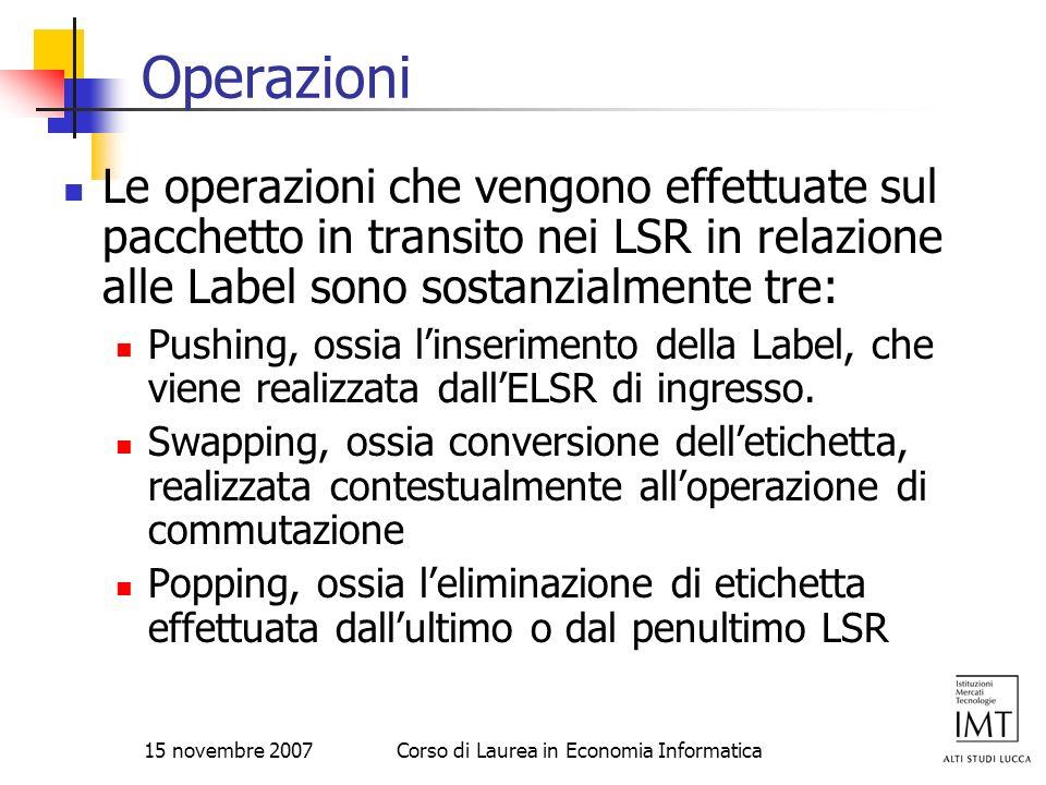 15 novembre 2007Corso di Laurea in Economia Informatica Operazioni Le operazioni che vengono effettuate sul pacchetto in transito nei LSR in relazione