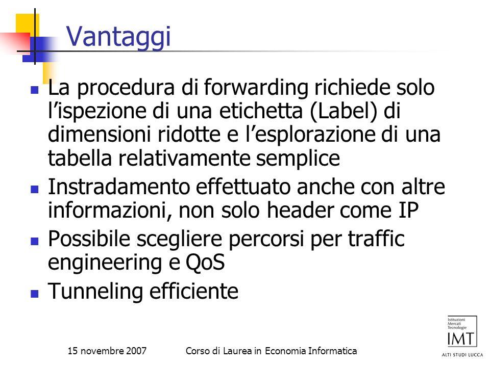 15 novembre 2007Corso di Laurea in Economia Informatica Vantaggi La procedura di forwarding richiede solo lispezione di una etichetta (Label) di dimen