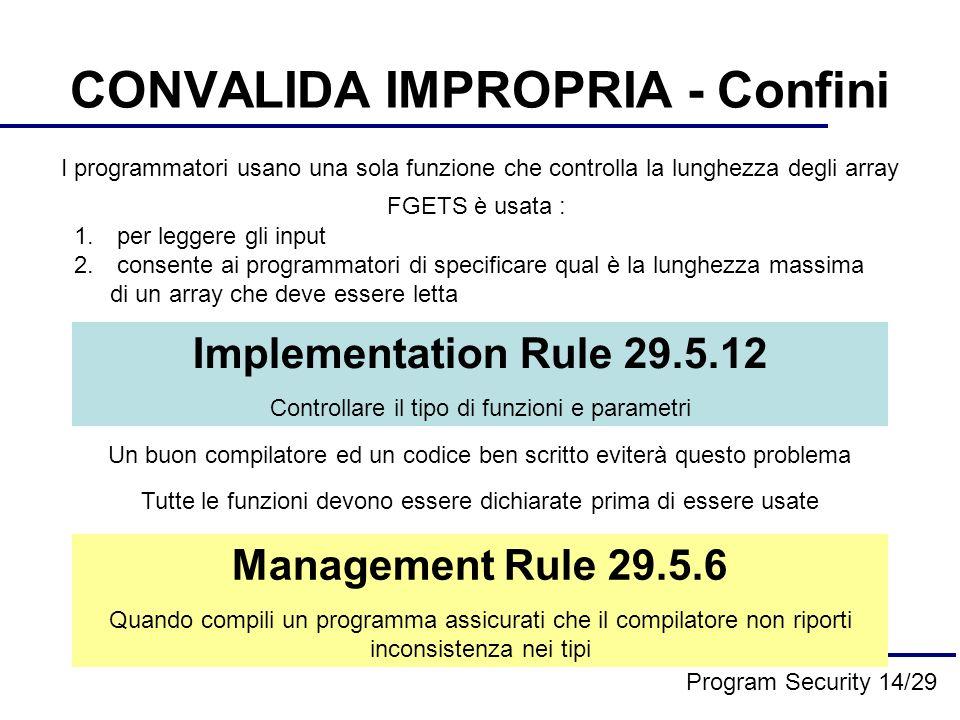 CONVALIDA IMPROPRIA - Confini I programmatori usano una sola funzione che controlla la lunghezza degli array 1.