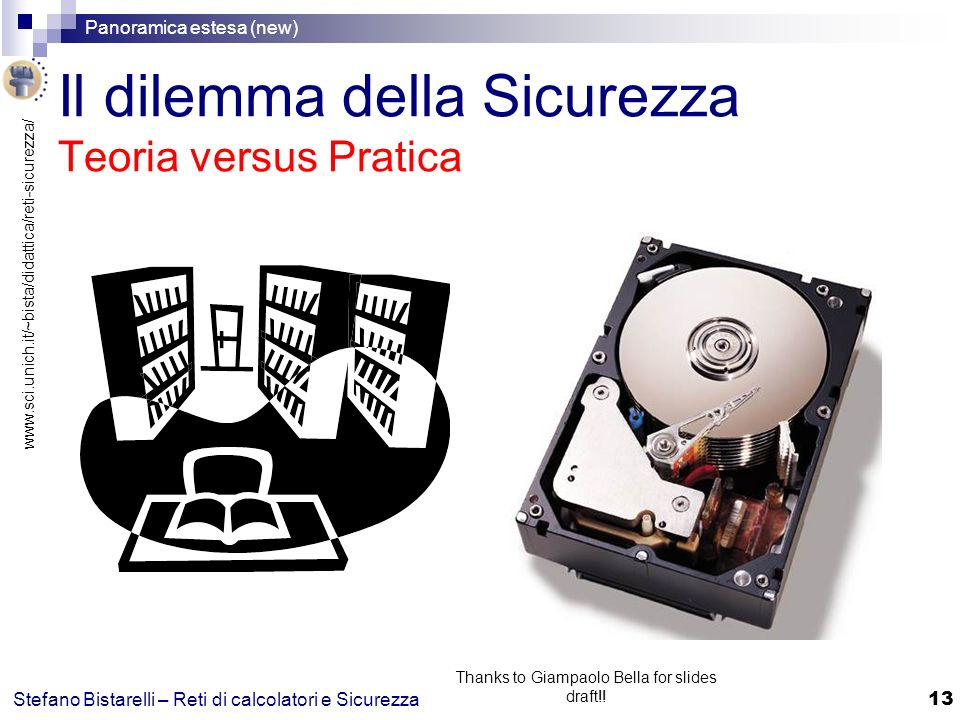 www.sci.unich.it/~bista/didattica/reti-sicurezza/ Panoramica estesa (new) 13 Stefano Bistarelli – Reti di calcolatori e Sicurezza Thanks to Giampaolo Bella for slides draft!.