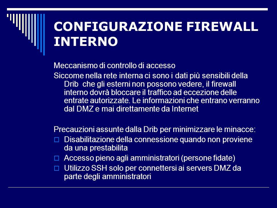 Meccanismo di controllo di accesso Siccome nella rete interna ci sono i dati più sensibili della Drib che gli esterni non possono vedere, il firewall interno dovrà bloccare il traffico ad eccezione delle entrate autorizzate.