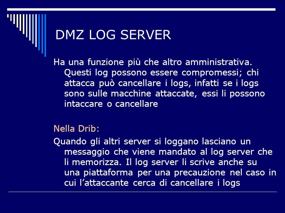 DMZ LOG SERVER Ha una funzione più che altro amministrativa.
