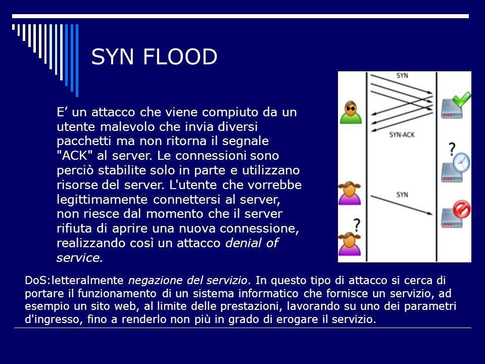 SYN FLOOD E un attacco che viene compiuto da un utente malevolo che invia diversi pacchetti ma non ritorna il segnale ACK al server.