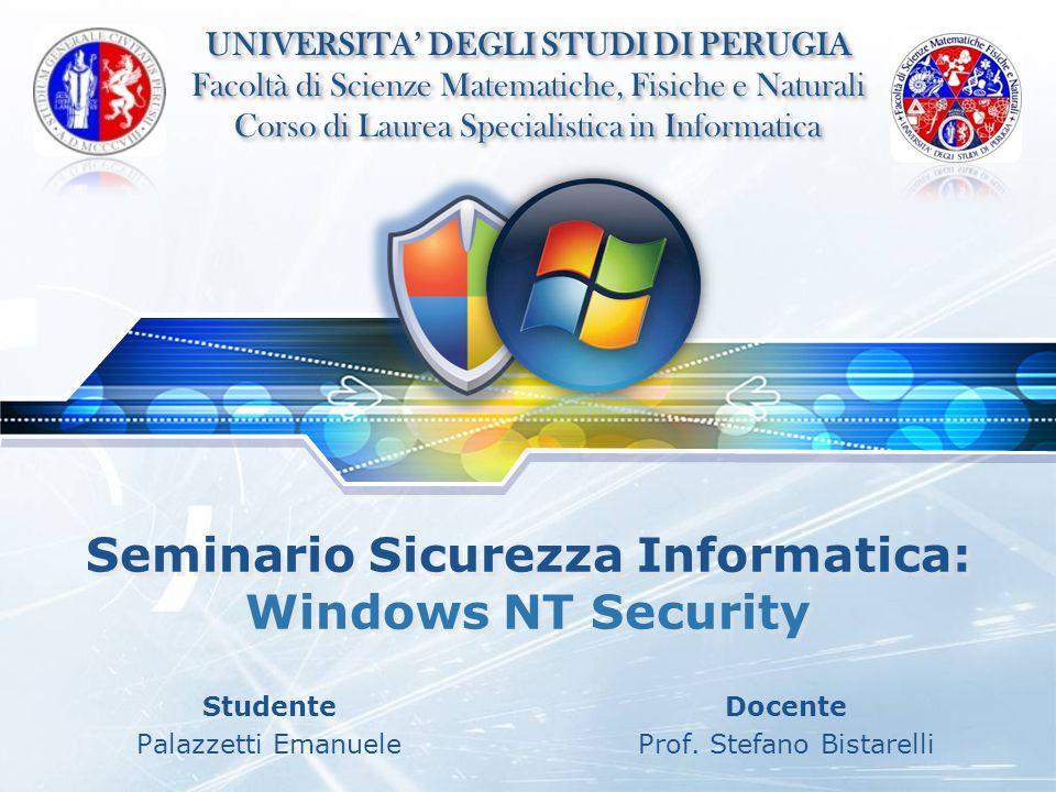 LOGO Seminario Sicurezza Informatica: Windows NT Security Studente Palazzetti Emanuele Docente Prof. Stefano Bistarelli UNIVERSITA DEGLI STUDI DI PERU