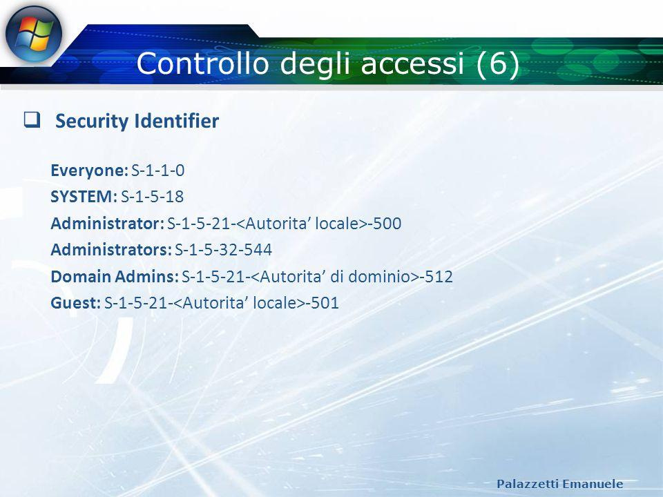 Controllo degli accessi (6) Palazzetti Emanuele Security Identifier Everyone: S-1-1-0 SYSTEM: S-1-5-18 Administrator: S-1-5-21- -500 Administrators: S