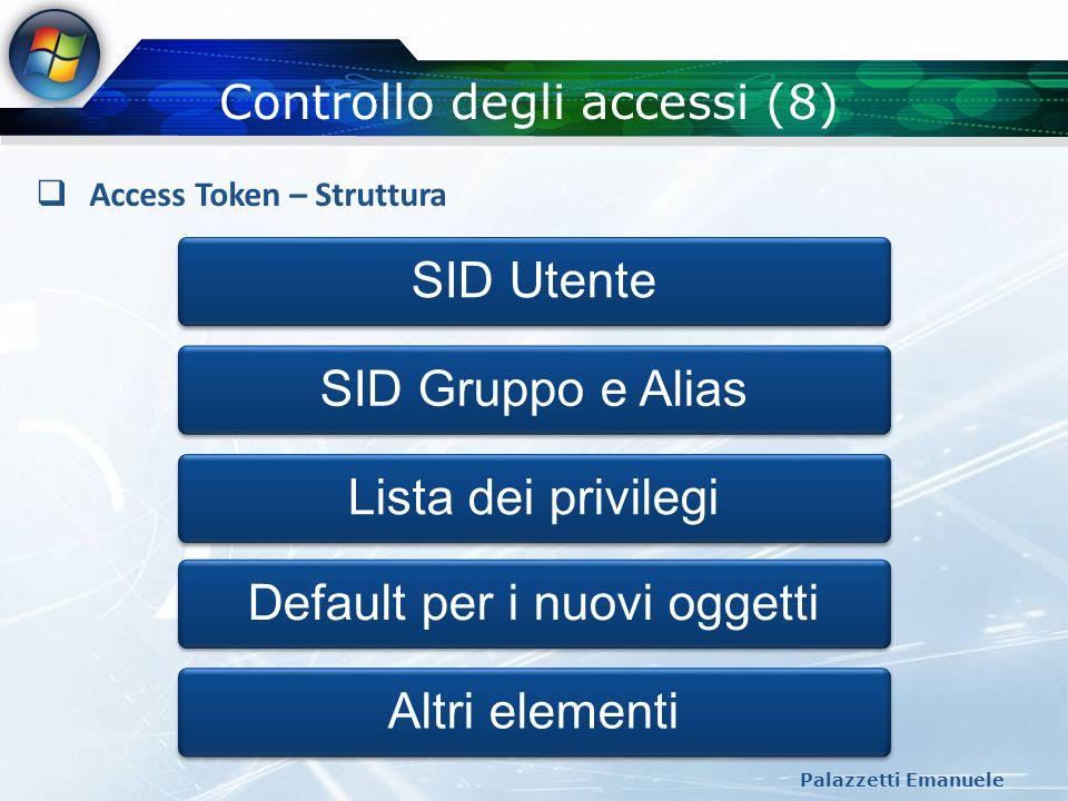 Controllo degli accessi (8) Palazzetti Emanuele Access Token – Struttura SID Utente SID Gruppo e Alias Lista dei privilegiDefault per i nuovi oggettiA