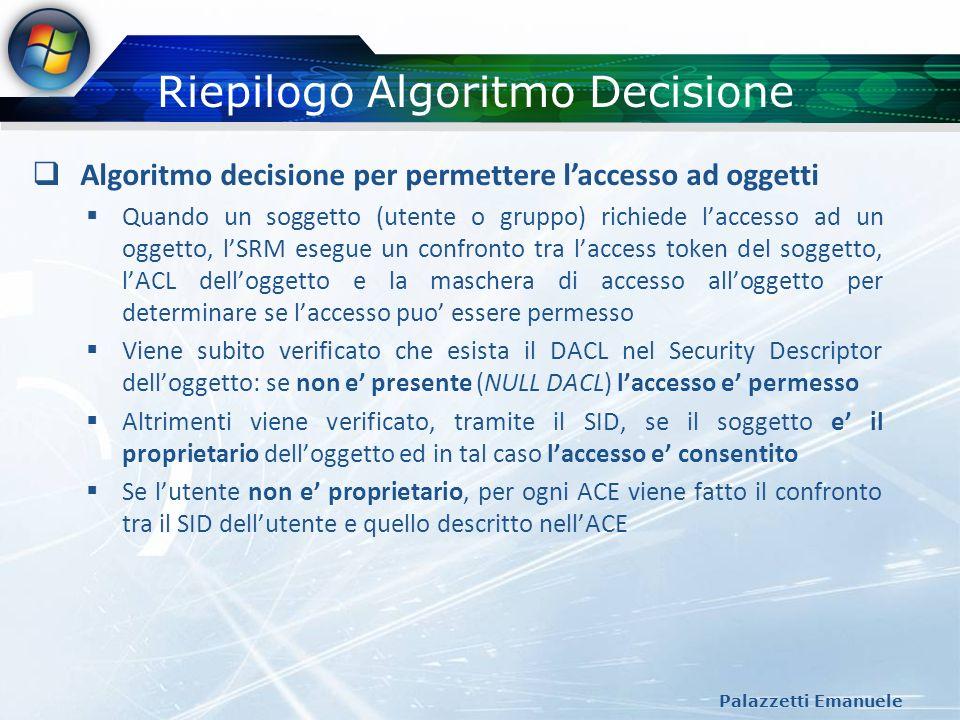 Riepilogo Algoritmo Decisione Palazzetti Emanuele Algoritmo decisione per permettere laccesso ad oggetti Quando un soggetto (utente o gruppo) richiede