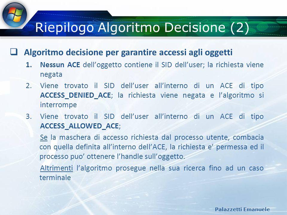 Riepilogo Algoritmo Decisione (2) Palazzetti Emanuele Algoritmo decisione per garantire accessi agli oggetti 1.Nessun ACE delloggetto contiene il SID
