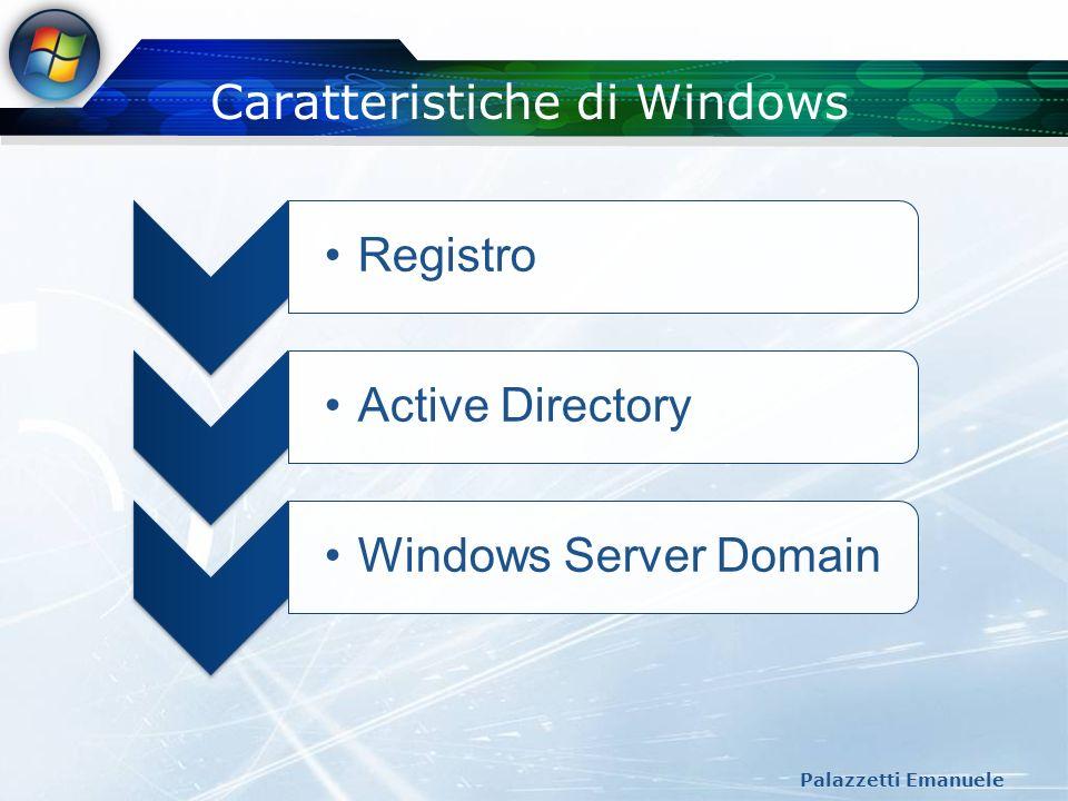 Registro di Windows Palazzetti Emanuele Registro Viene identificato come il database centrale di tutta la configurazione di Windows e dei suoi applicativi Ogni voce del registro viene chiamata key E disponibile un programma (regedit.exe) per poter modificare le varie chiavi presenti sul registro o semplicemente per visualizzarlo nella sua struttura Un punto di forza e la possibilita di creare criteri di gruppo che permettono all amministratore di una rete di computer basati su Windows di gestire impostazioni di protezione e dei programmi in maniera centralizzata.